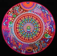 ⊰❁⊱ Mandala ⊰❁⊱ Peyote Ceremony in the Sacred Land of Wirikuta ( Huichol yarn painting by Maximino Renteria de la Cruz, Nayarit, Mexico, c. 2006 Yarn pressed into beeswax on plywood x Mandala Art, Indian Mandala, Huichol Art, Art Visionnaire, Yarn Painting, Meditation, Arte Country, Art Yarn, Mexican Folk Art