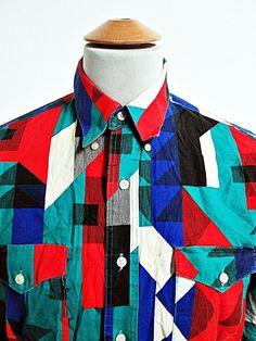 Vintage Wrangler Geometric Cosby Show Cowboy Western Shirt L Large