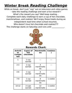 Get your students motivated to read while on break for two weeks! Students that complete daily challenges are working to earn a reward on the reward chart.
