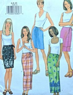 986b03321 UC Butterick 3458 Sewing Pattern Fast  amp  Easy Sarong Tie Wrap Straight  Skirt 6-