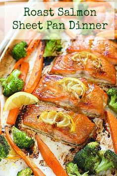 Honey Glazed Salmon Sheet Pan Dinner from Laughing Spatula Salmon, veggies and sweet potatoes all cooked up on one sheet pan! This is a perfect weeknight meal. Checking all the boxes: Protien, check. Easy Salmon Recipes, Fish Recipes, Seafood Recipes, Paleo Recipes, Cooking Recipes, Sheet Pan Suppers, Glazed Salmon, Dijon Salmon, Seafood Dishes