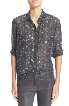 The Kooples Tattoo Print Crêpe de Chine Shirt available at #Nordstrom