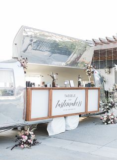 Tassels & Tastemakers Celestial Cocktail Party Tassels & Tastemakers Celestial Cocktail Party – Inspired By This Airstream bar, unique bar setup, unique wedding bar, wedding reception decorations Cocktail Wedding Reception, Wedding Reception Decorations, Wedding Ideas, Outdoor Cocktail Party, Cocktail Parties, Wedding Themes, Tequila Sunrise, Bar Set Up, Signature Cocktail