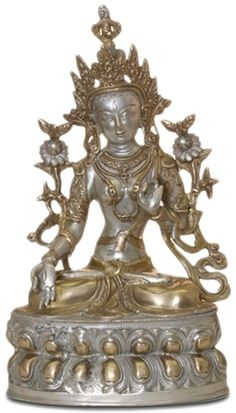 gift ideas, newlywed, new home, feng shui, art, home   decorations. White Tara Gold, Silver, Bronze Statue