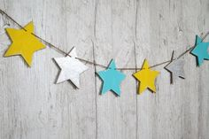 Wooden nursery garland Star banner Turquoise Silver Golden Yellow nursery decor Custom colors Wood star Birthday garland by WoodStreets on Etsy