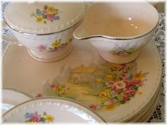 dishes with cottage on it