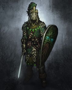 The Knight of Greentrees, Paladin of the Green Men & Knight Captain of the Knights Ascendant Dark Fantasy, Fantasy Armor, Medieval Fantasy, Fantasy Male, Fantasy Character Design, Character Art, Green Knight, Armadura Medieval, Knight Art