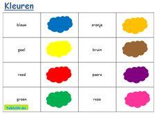 Tekst- en beeldkaartjes thema kleuren; kleuren oefenen met anderstalige nieuwkomers en leerlingen adhv. memory en vele andere spelletjes.