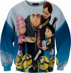 Despicable Me Minion Sweater Crewneck Sweatshirt by YeahWhateverz, $59.87