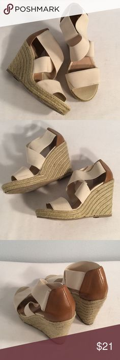 Cream stretch with weave wedge Steve Madden Steve Madden Cream stretch with wheat weave good condition but does have two front marks shown in the pictures on first strap next your toes other than that in good condition wedge height of 4 inches Steve Madden Shoes Wedges