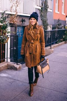 2.16 suede trench coat (Banana Republic suede trench in totem brown + Charter Club turtleneck in camel + Helmut Lang leather pants + Gianvito Rossi ankle boots in luggage brown + Celine bag + Burberry gloves & beanie)
