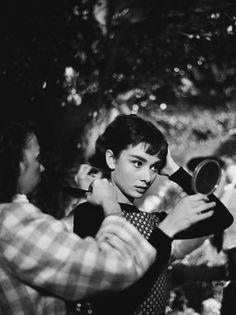 Audrey Hepburn on the set of Sabrina