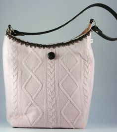 Repurposed Pink Sweater Bag by helenshandbags on Etsy, $72.00