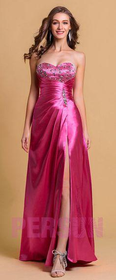 7ba5c0df3e28 robe de soirée fuchsia longue fendue bustier coeur orné de strass