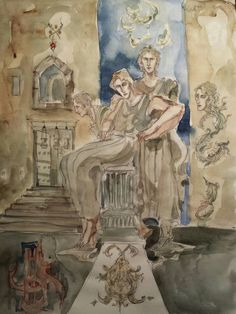 Items similar to Swan Hall Original Painting Medieval Tale Characters Castle Ancient Figures Motifs Feather Creature Prince Beautiful Male Greek Colum Crest on Etsy Art Boards, Swan, Orchids, Medieval, Original Paintings, Feather, Prince, Greek, Creatures