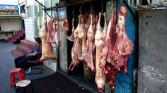 This photo from Xinjiang, West is titled 'Butcher Shop'. Urumqi, Meat Shop, Butcher Shop, Prime Rib, Landscapes, Asia, Chinese, Study, Child
