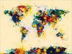 Paint Splashes Map of the World Map Art Print 118 by artPause