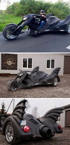 "The folks over at Game Over Cycles have created their own version of Batman's ride with a three-wheeled ""Bat bike."""