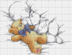 Free Birth Sampler Chart Stitch this sweet birth sampler of baby with teddy bear as a gift or for a family member.  This is a free chart with color key included below. Happy Stitching!