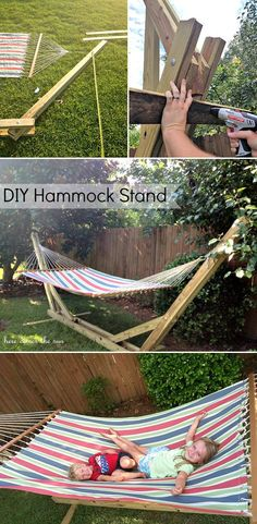 Diy Hammocks Projects And Tutorials Including, From 'Here Comes The Sun', This Great Diy Hammock Stand Project. Diy Hammock, Backyard Hammock, Hammock Stand, Hammock Ideas, Backyard Projects, Outdoor Projects, Diy Projects To Try, Potager Bio, Outdoor Fun