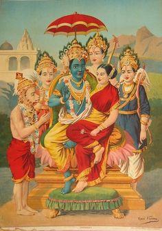 Rama and Sita, with Hanuman, and Rama's three brothers: Lakshmana, Bharata, and Shatrughna. Hindu painting by Raja Ravi Varma (1848-1906)