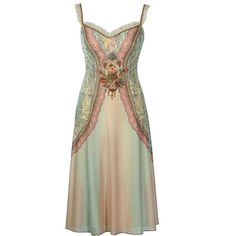 Enchanting Mid-Calf Dress Designed by Michal Negrin with Lace Like and... ($837) ❤ liked on Polyvore featuring dresses, vestidos, brown lace dress, mid calf dresses, brown midi dress, midi cocktail dress and sparkly dresses
