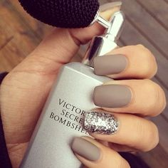taupe matte nails with silver glitter accent nails