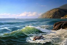"""Wave"" is an oil painting by artist Gennadiy Kirichenko. Beautiful Paintings, Beautiful Landscapes, Landscape Art, Landscape Paintings, Sea Waves, Traditional Paintings, Seascape Paintings, Ocean Art, Scenery"