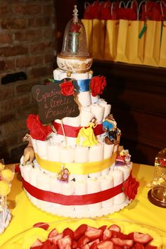 Friendly baby shower diaper cake ideas check this link right here now Baby Shower Diapers, Baby Shower Gifts, Baby Gifts, Disney Diaper Cake, Diaper Cakes, Beauty And The Beast Theme, Beauty Beast, Baby Gender Reveal Party, Reveal Parties