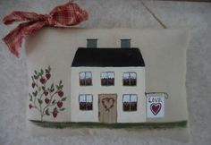 Primitive Valentine House Folk Art Wall Hanging Pillow Tuck Hearts by auntiemeowsprims on Etsy