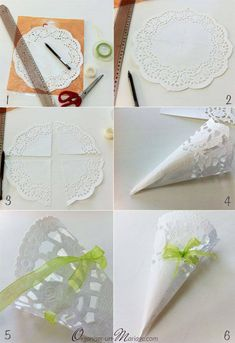 DIY Dentelle mania : photophores, lampions, boîtes et centre de table gastgeschenk diy Paper Doily Crafts, Doilies Crafts, Paper Doilies, Wedding Favours, Diy Wedding, Wedding Day, Paper Cones, Wedding Confetti, Wedding Videos