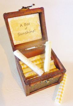 A Box of Sunshine! 22 sunny and inspirational quotes on yellow scrolls in a beautiful wood chest - an uplifting, personal & memorable gift!