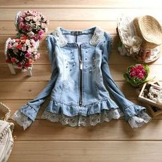 Spring and autumn pearl o-neck patchwork lace denim outerwear female slim long-sleeve short jacket design US $51.60