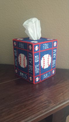 Handmade Finished Baseball Sports Tissue Box Cover Home Decoration by StephsStuffStudio on Etsy
