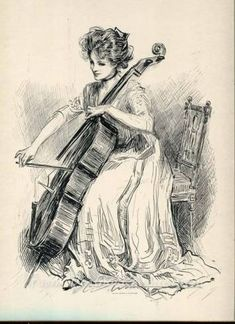 Here are three sketches by Charles Dana Gibson of lovely ladies playing musical instruments. A harpist, a cellist, and a fiddler. Cello Kunst, Cello Art, Drawing Sketches, Pencil Drawings, Art Drawings, Drawing Ideas, La Fille Gibson, Charles Dana Gibson, Girl Artist