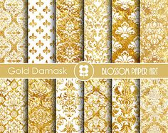 Gold damask digital paper: SHINY GOLD DAMASK with by ClaireTALE