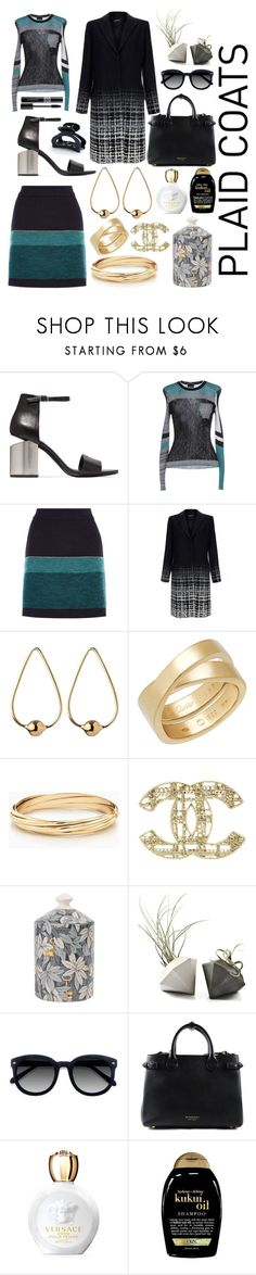 """""""Plaid Plans"""" by pulseofthematter ❤ liked on Polyvore featuring Alexander Wang, Just Cavalli, Raoul, Jennifer Fisher, Chanel, Fornasetti, Ace, Burberry, Versace and Organix"""