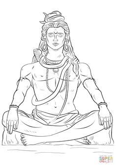 How to draw Lord Shiva step by step. Drawing tutorials for kids and beginners. Arte Shiva, Shiva Art, Krishna Art, Hindu Art, Shiva Tandav, Outline Drawings, Art Drawings, Angry Lord Shiva, Lord Shiva Sketch