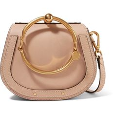 Chloé Nile Bracelet leather and suede shoulder bag ($1,690) ❤ liked on Polyvore featuring bags, handbags, shoulder bags, torbe, beige, chloe handbags, beige shoulder bag, genuine leather handbags, shoulder hand bags and antique leather purse