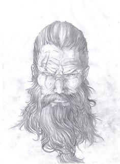 Representação de Odin, deus da mitologia nordica. desenho feito em grafite.