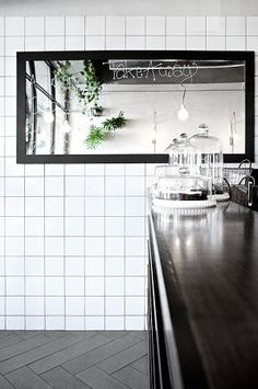 takeaway counter, white tiles, black fixtures #squaretiles #black&white