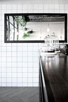 takeaway counter, white tiles, black fixtures #squaretiles #black&white