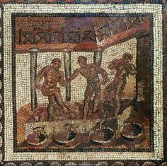 Roman Mosaic. Treading the Grapes. Saint Romain-en-Gal, France