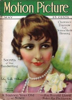 Motion Picture Magazine May 1927, Patsy Ruth Miller (January 17, 1904 – July 16, 1995) on the cover. Miller's most famous role was as Esmeralda in The Hunchback of Notre Dame (1923)