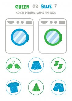 Sort clothes by colors. green or blue. P... | Premium Vector #Freepik #vector #children Sorting Games, Math Games For Kids, Kids Learning Activities, Montessori Activities, Toddler Learning, Preschool Activities, Preschool Puzzles, Fall Preschool, Preschool Worksheets