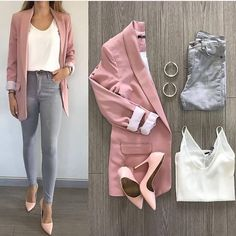 Pantalon gris combine un pantalon slim gris Chemisier blanc Rose long manteau Ro… - Well Tutorial and Ideas Summer Work Outfits, Casual Work Outfits, Business Casual Outfits, Professional Outfits, Mode Outfits, Chic Outfits, Spring Outfits, Trendy Outfits, Pink Blazer Outfits