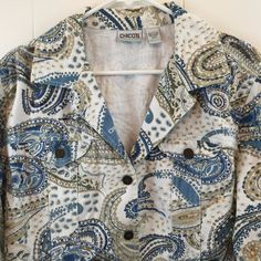 Chico's 2 Jacket Embellished Beaded Bling Blue White Paisley Cotton Jean Denim L #Chicos #JeanJacket