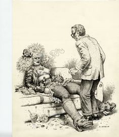 """Robert Crumb executed this piece for the purpose of obtaining financing for a Proposed Script (originally titled: """"Whiteman"""") by friend Terry Zweigoff. Later, the movie title was changed to """"Crumb"""". Directed by David Lynch."""