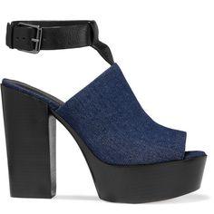 Rebecca Minkoff Cece denim platform sandals (€130) ❤ liked on Polyvore featuring shoes, sandals, navy, navy sandals, platform shoes, high heeled footwear, high heel platform shoes and navy blue high heel sandals