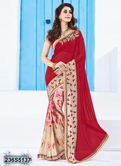 Splendiferous Beige Coloured Georgette Printed Saree